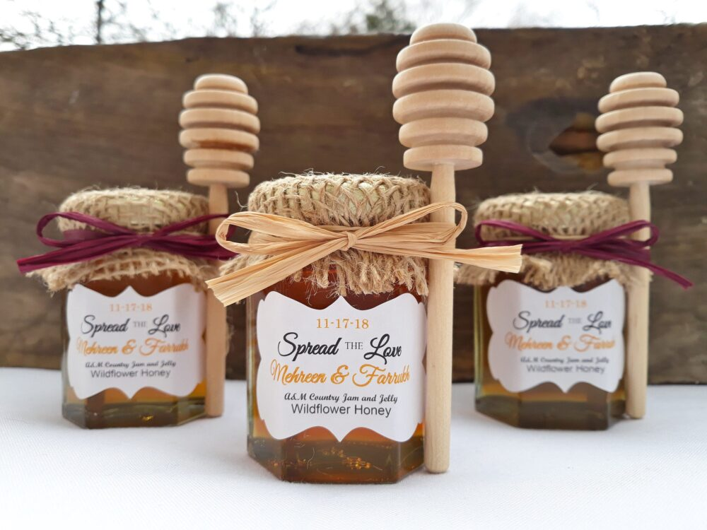 25 - Honey Wedding Favors Filled with Raw Golden Wildflower Honey, Burlap Topper, Personalized Labels & Color Raffia Ribbon