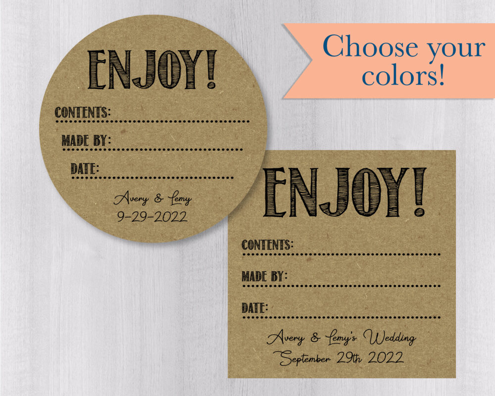 Enjoy Kraft Brown Mason Jar Labels, Rustic Canning Stickers, Homemade Wedding Favor Seals, Jam Or Jelly | #139-2-Kr