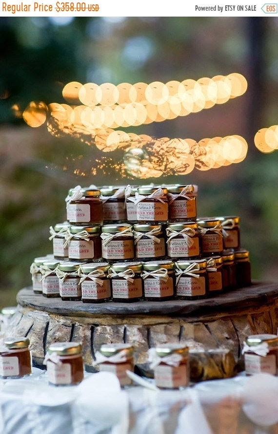 20% Off Sale 100 | 2Oz Rustic Jam Wedding Favors With Personalized Labels, Edible Fall Favors, Mini Jar