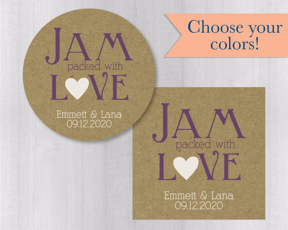 Jam Packed With Love, & Jelly Wedding Favor Sticker, Stickers, Labels, Rustic Brown Labels   #216-Kr