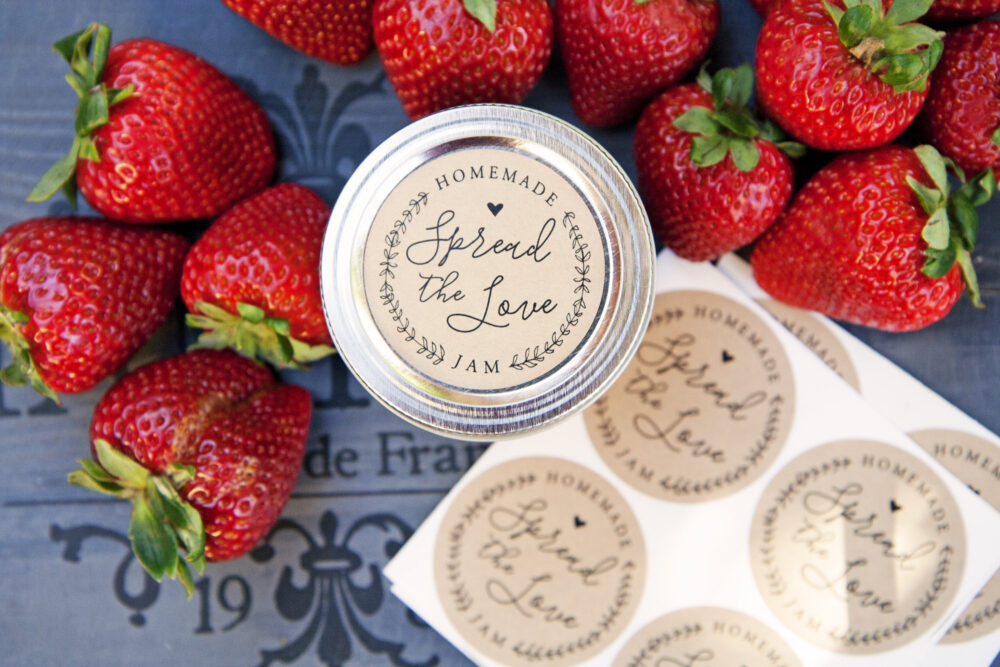 Spread The Love Stickers - Ball Jam Jar Labels Homemade Jelly Favor Wedding Favors, Shower Favors 20 Per Pack