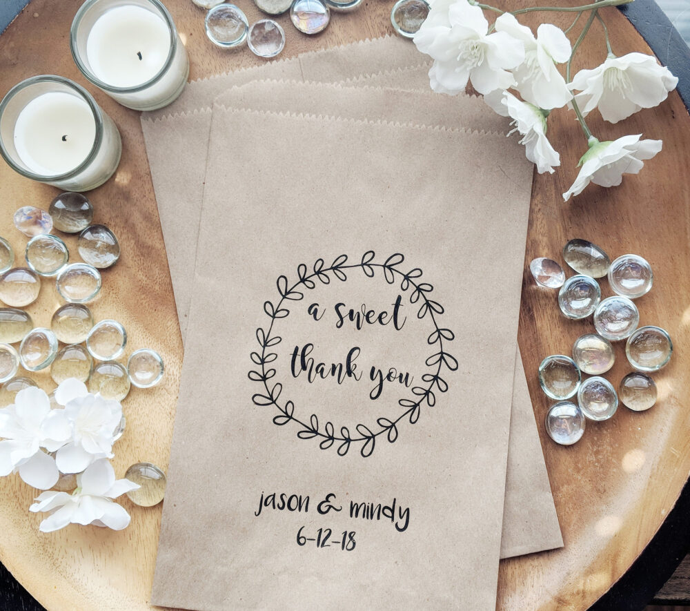 A Sweet Thank You Favor Bags, Kraft Wedding Popcorn Diy Weddings, Favors, Donut Bag