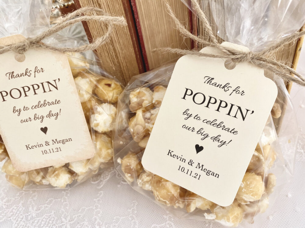Rustic Wedding Favors, Popcorn Bags, Country Wedding, Printed