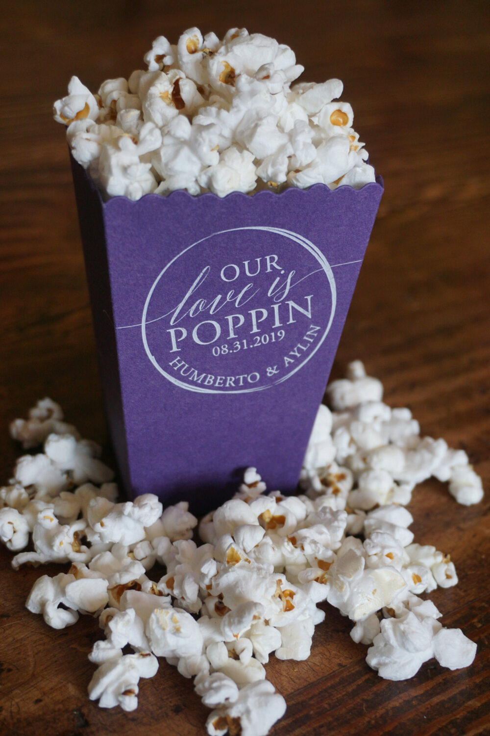Custom Popcorn Box Purple Wedding Favor-Printed White Ink - Personalized Boxes Favor Bar
