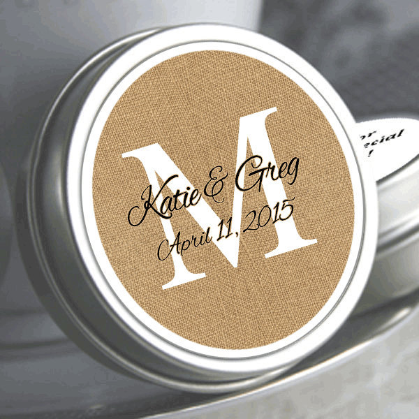 Burlap Monogram Wedding Favors - Mint Silver Mints Candy Containers
