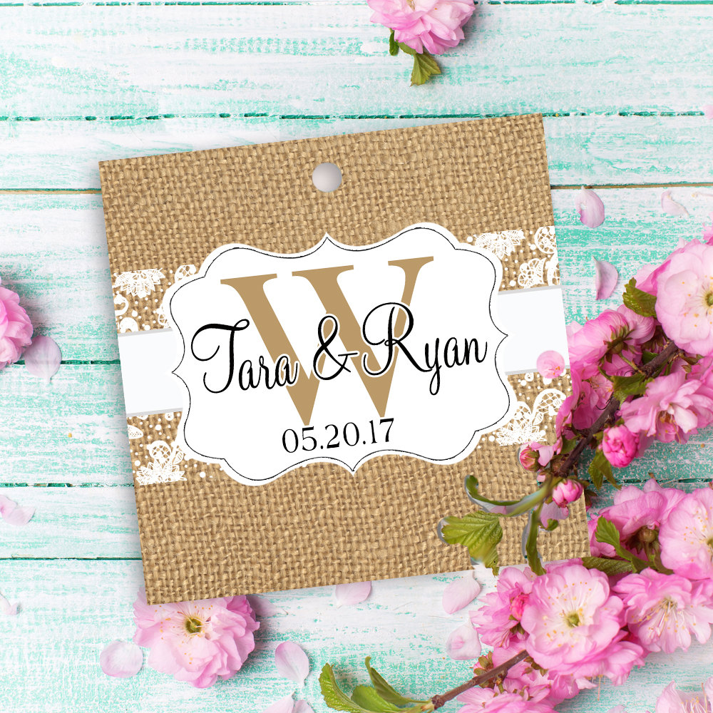 "12 Custom Tags Square 2"", Wedding Themed, Burlap & Lace Tags, Monogram, Favor Candy Bag Personalized Favors, Hang Tag"
