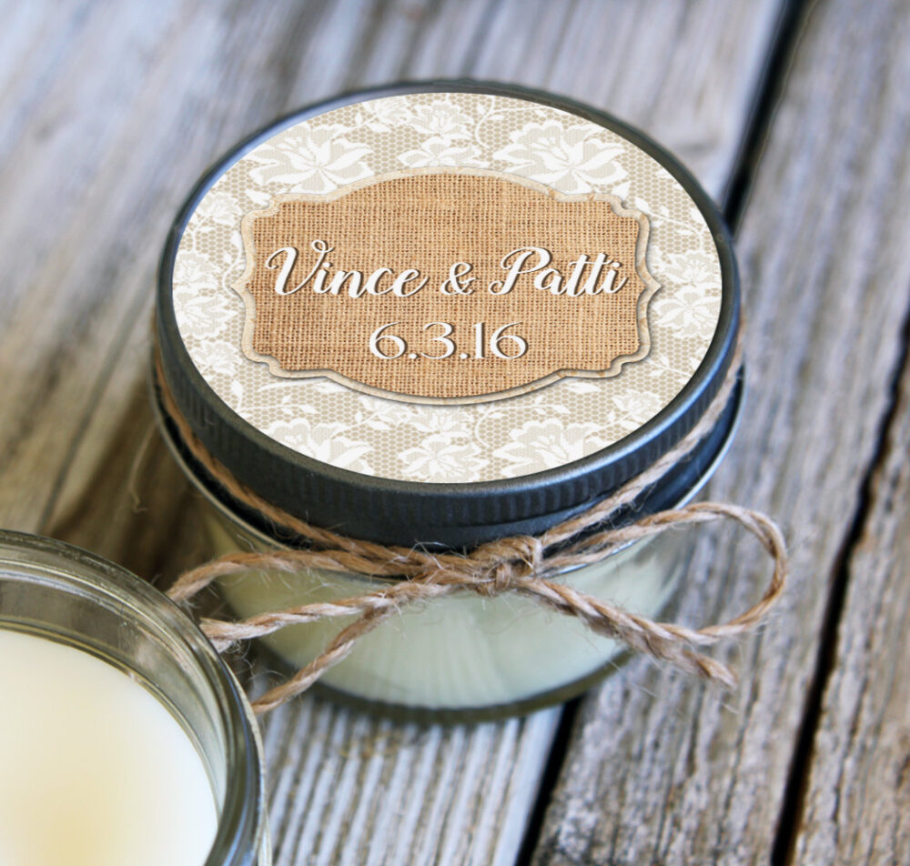 Set Of 12 - 4 Oz Soy Candle Wedding Favors Burlap & Lace Label Design Rustic Bridal Shower Favors