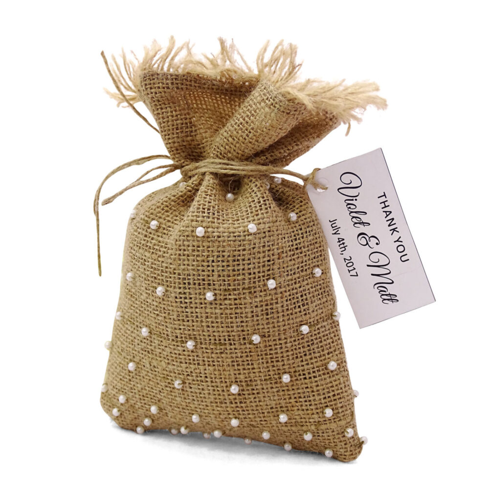Rustic Favor Bags With Custom Tags, Bridal Wedding Bag, Burlap 20 Party Bags, Gift Pfab96