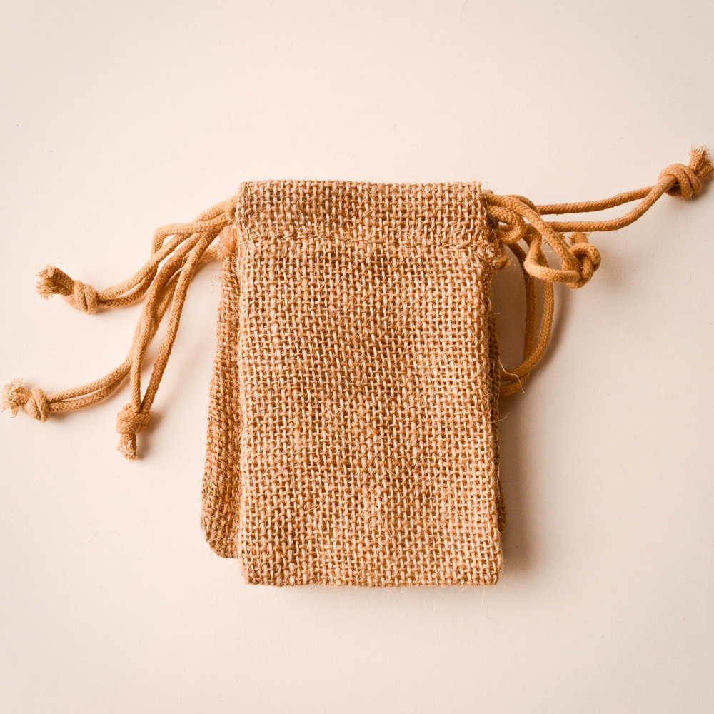 100 Burlap Bags 3x5, Jute, Natural Drawstring Sack, Rustic Gift Bag Wedding Favor