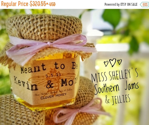 20% Off Sale 75 | 1.5Oz Honey Wedding Favors With Mini Dippers, Rustic Burlap Jar Favors, Personalized Fall Edible Showe
