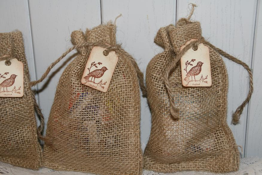 Burlap Bags Wedding Favor With Tag, Wedding, Rustic Favors Bags, Birdseed 4 X 6, Quantity 100