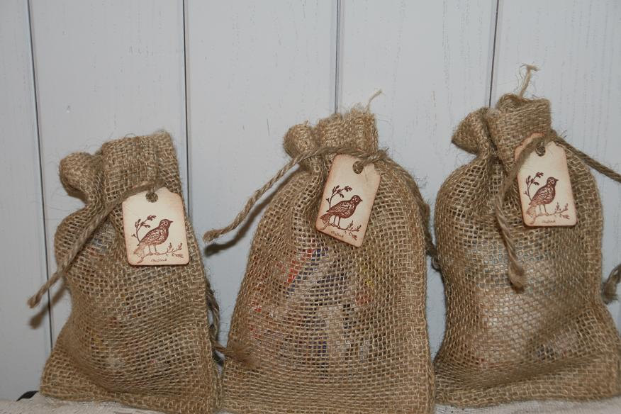 Rustic Wedding Burlap Bags Favors With Bird Tag, Wedding, Favors, Birdseed Bags, 200