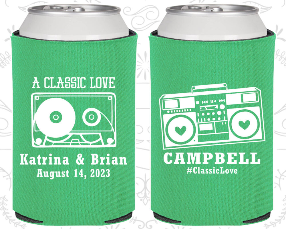 A Classic Love, Wedding Items, Vintage Favors, Cassette Tape, Boombox, Retro Can Coolers | 489