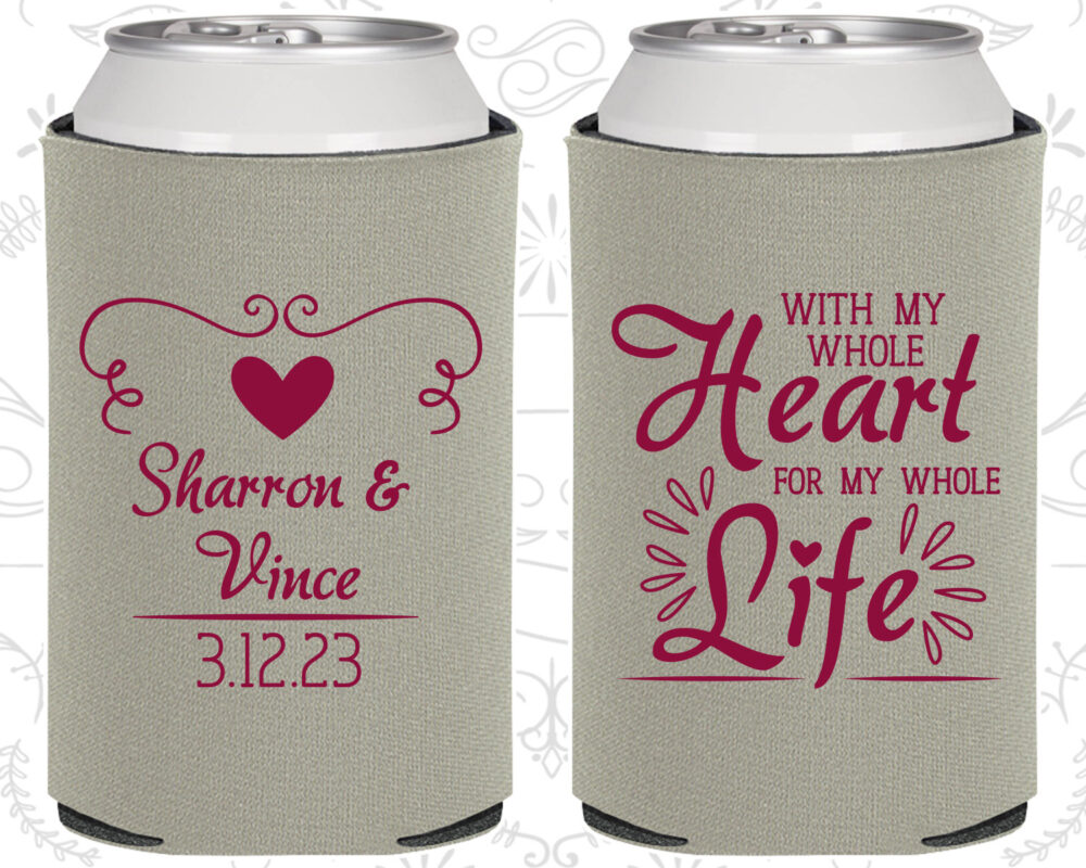 With My Whole Heart, For Life, Wedding Party Favors, Vintage Romantic Beer Coolie | 387
