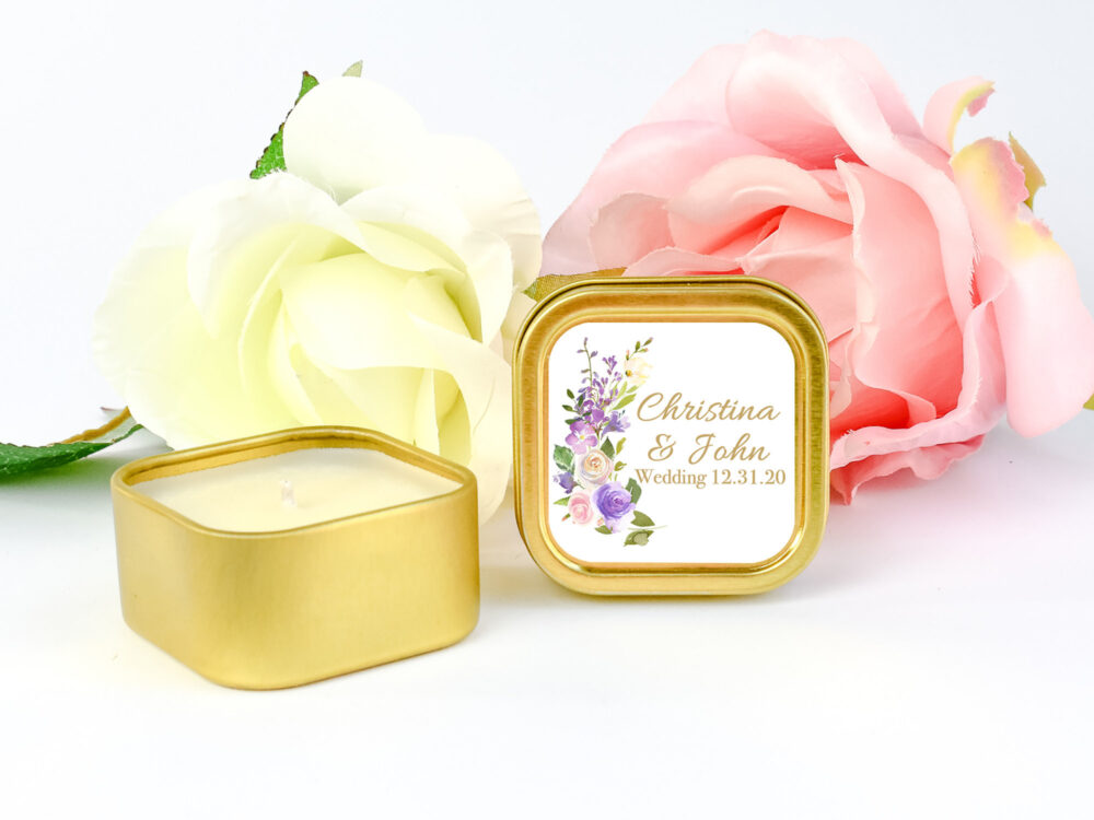 Gold Wedding Personalized Candle Favors 12Ct Floral Candles, Vintage Favors, Party Square Tin