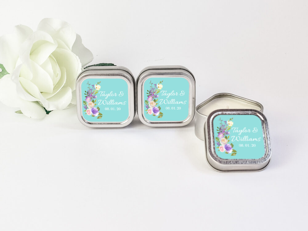 Bridal Shower Personalized Candle Favors 12Ct Floral Candles, Vintage Favors, Party Silver Square Tin