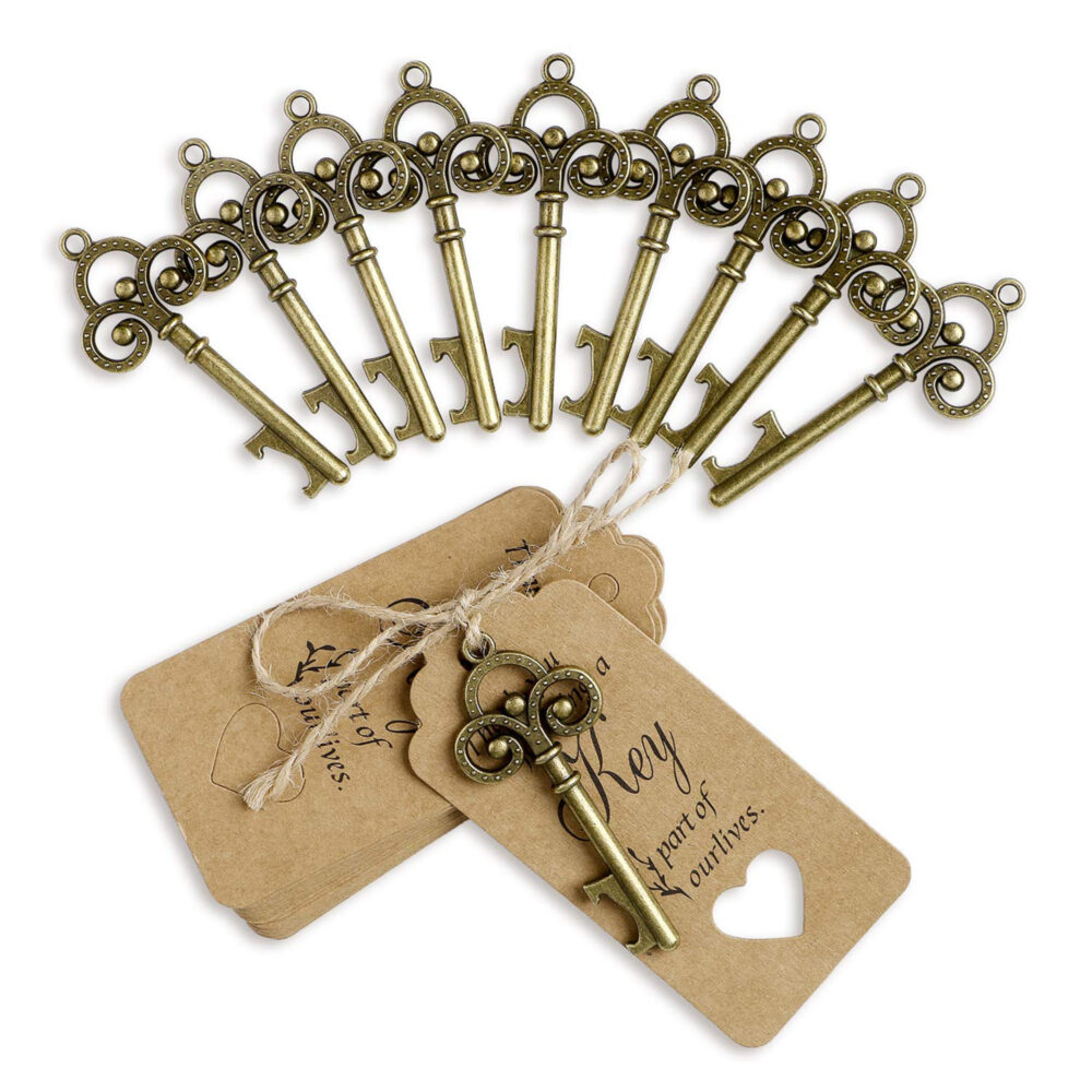 50 Rustic Vintage Key Bottle Opener Wedding Party Favors With Tags Guests Skeleton Table Decorations Souvenir Gift Set