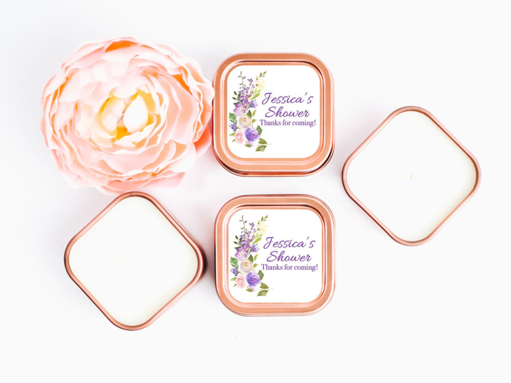 Bridal Shower Candle Favors 12Ct Floral Candles, Vintage Favors, Chic Bulk Gold Square Tin