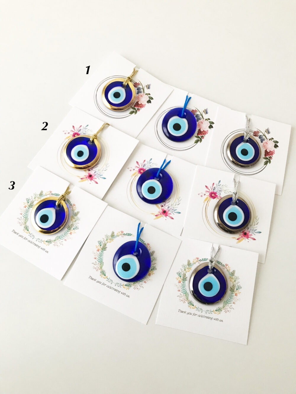 Evil Eye Wedding Favors, Personalized Favor, Greek Evil Bead, Card Designs, Unique Gifts, Gold Silver Blue