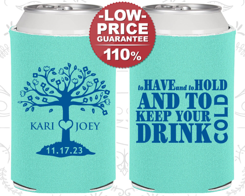 Custom Wedding Favors, Personalized Can Coolers, Rehearsal Favor, Unique Guest Favors | C38
