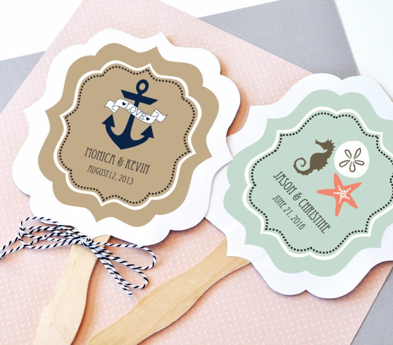 Nautical Wedding Favor Fans - Paddle Fan Hand Beach Favors Personalized Paper Custom | Eb2354Tz Set Of 24