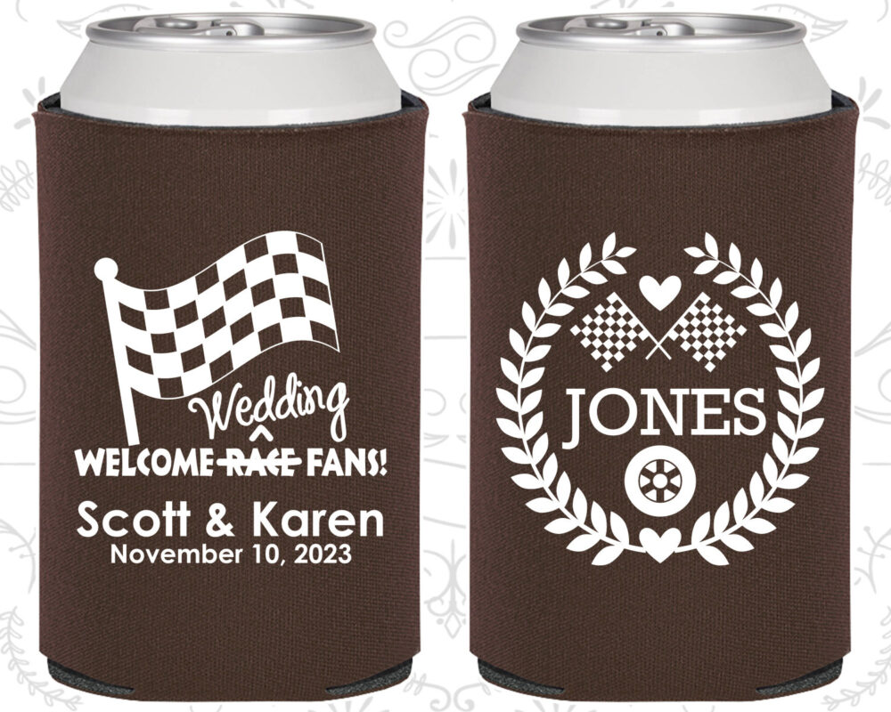 Welcome Wedding Race Fans, Racing Flags, Checkered Flag, Country Favors, Car Items, Custom Coolie | 589