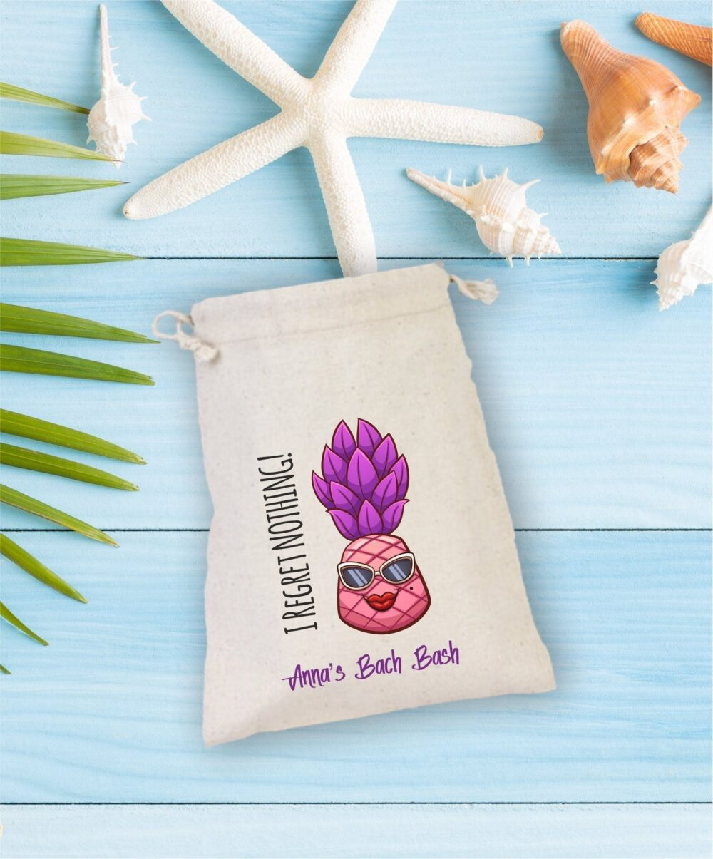 I Regret Nothing , Bachelorette Party Hangover Kit, Drawstring Mini Favor Bags, Wedding Part Favor, Sunglass, Personalized Bag, Pineapple