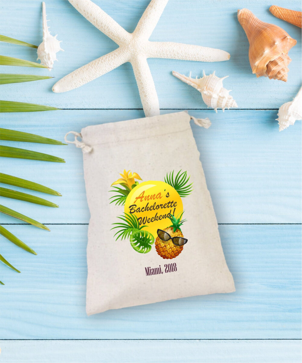 Bachelorette Hangover Kit, Drawstring Mini Favor Bags, Party Favor, Pineapple Bag, Sunglass, Personalized, Weekend, Miami