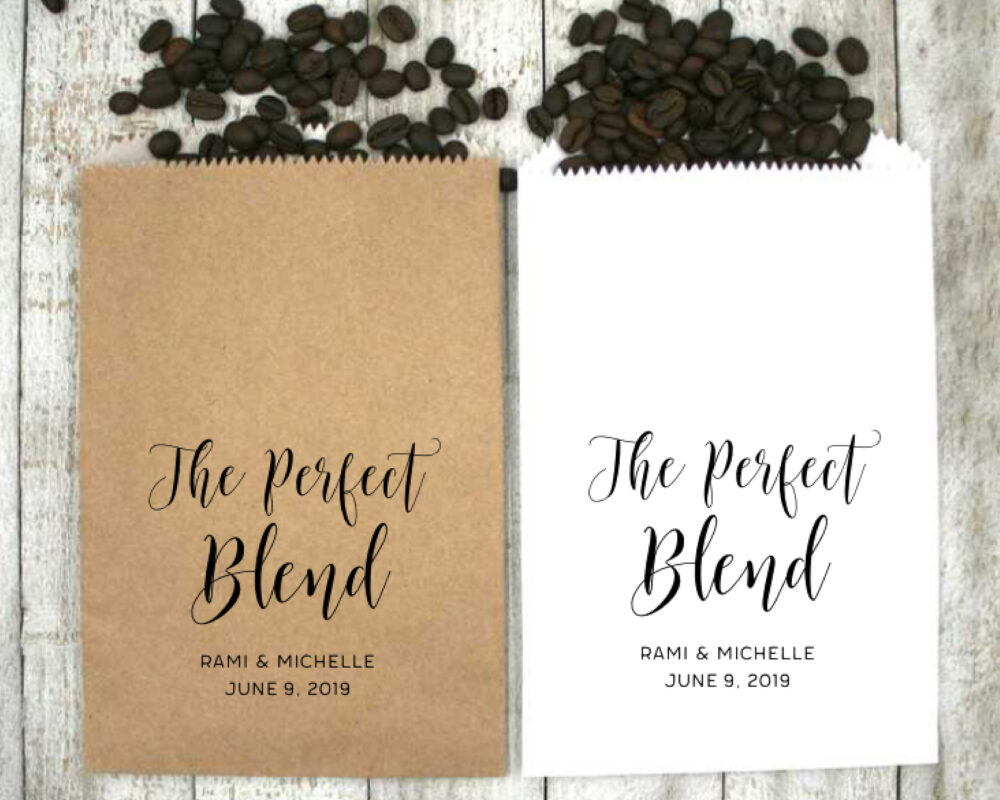 Personalized Coffee Favor Bags For Wedding, Shower, Or Engagement - 20 Kraft Favor Bags, Brown White The Perfect Blend With Names, Date