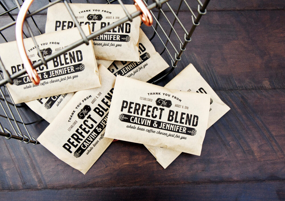 The Perfect Blend - Personalized Wedding Coffee Favor Bags Paper Bean Wrap Diy 20 Kraft Food