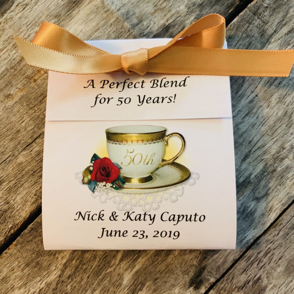 50Th Anniversary Personalized Tea Favors For Wedding Golden Teacup Design Bag Photo