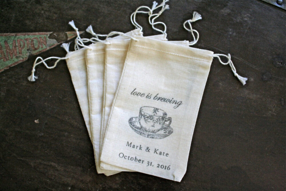 Personalized Tea Favor Bags For Wedding, Shower, Engagement Party - Love Is Brewing, Bridal Tea, Cloth Favor Bag, Tea Gifts Guests