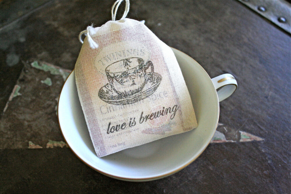 Tea Favor Bags For Wedding, Shower, Or Party - Hand Stamped Cloth Love Is Brewing With Teacup Design Favors