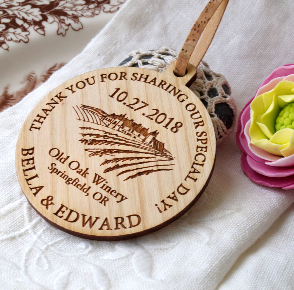 Wedding Favors, Personalized Ornaments, Vineyard Wedding Wooden Favor Thank You Set Of 25 Pc