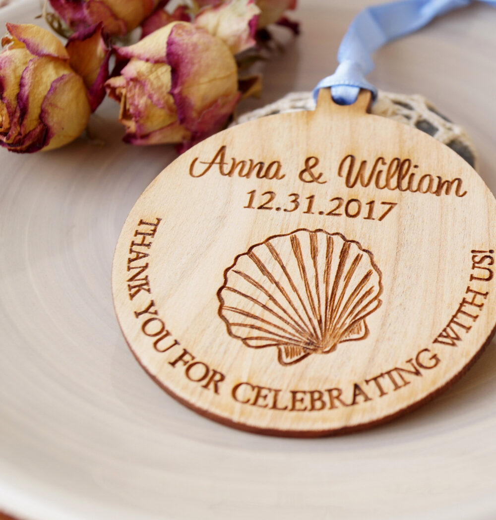 Beach Wedding Favors, Favor Ornaments, Wooden Seashell Thank You Set Of 25 Pc