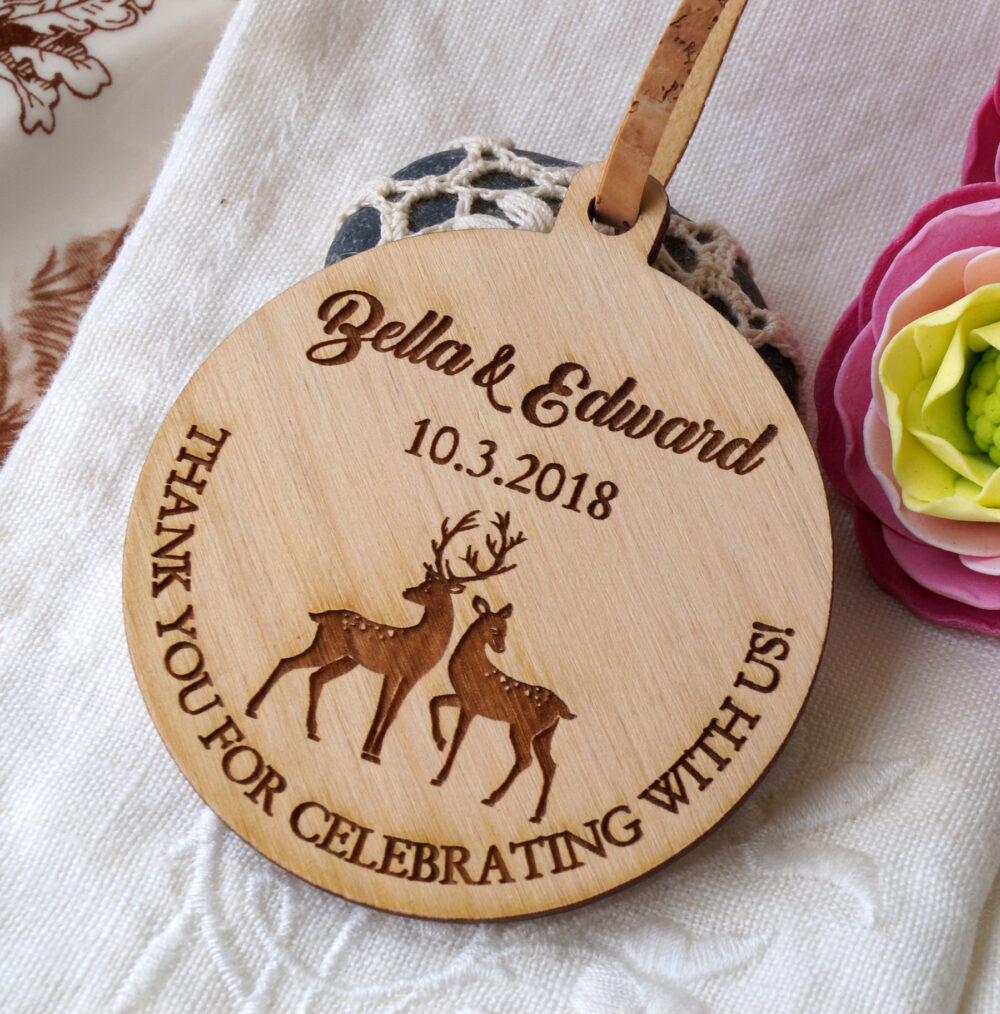 Wedding Ornaments, Wedding Favors, Personalized Wooden Favor Ornament, Custom Made Buck & Doe Design, Set Of 25