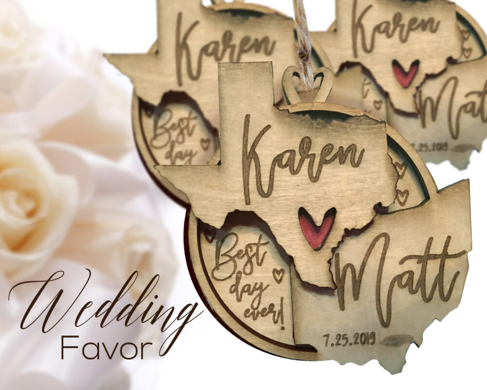 Best Day Ever State Wedding Favor, Favor Ornament, Rustic Favors, Bulk Guest Wood Ornament