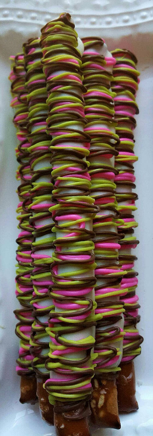 Gourmet White Chocolate Covered Pretzels Rods Party Favor Showers Communion Gifts Anniversary Wedding Bridal Princess Graduation Corporate