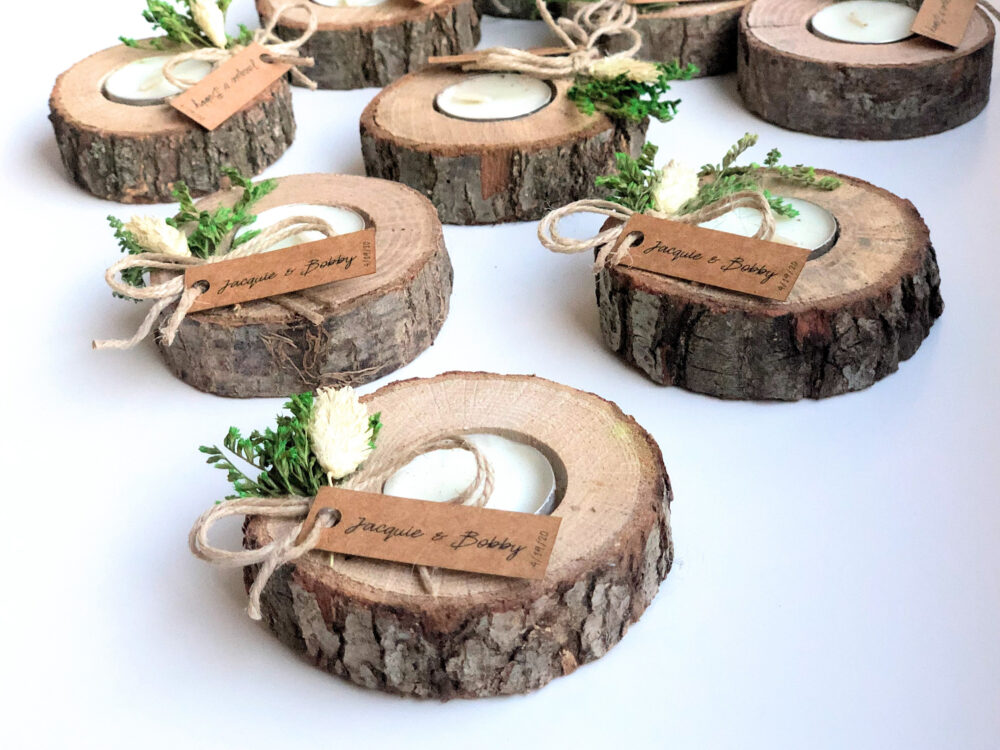 100 Pcs Wedding Favors For Guests, Bulk Gifts, Rustic Wedding Favor, Personalized Wood Tealight Holder, Unique Gift, Thank You