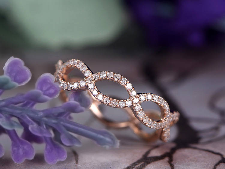 Diamond Wedding Band, 14K Rose Gold, Curved Loop, Infinity Band, Anniversary, Promise Ring, Full Eternity, Stackable, Vintage Style , Gift For Her