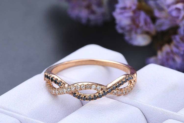 Diamond Matching Band, 14K Gold, Diamond, Infinity Band, Curved Loop Band, Vintage Style, Personalized Ring, Wedding Ring, Bridal Ring, Gift For Her