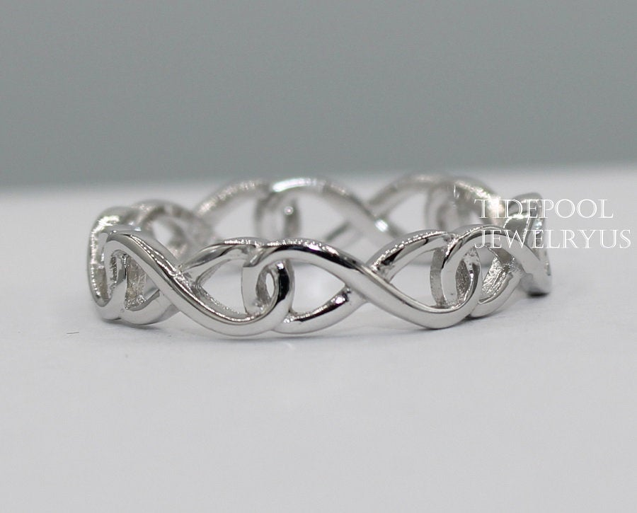 Sterling Silver Infinity Band Ring, Siver 925 Thumb Stackable Trendy Womens, Gift For Her, Ring, Midi, Silver Ring