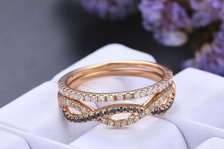 Diamond Matching Band, 14K Gold, Diamond, Infinity Band, Curved Loop Band, Vintage Style, Half Eternity Band, Wedding Ring, Bridal Ring, Gift For Her