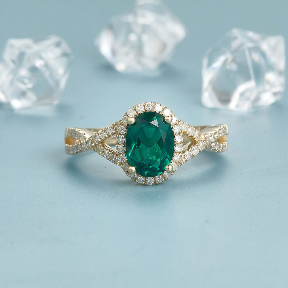 Oval Emerald Engagement Ring 14K Yellow Gold Bridal Art Halo Wedding Infinity Band Women Promise Gift For Her