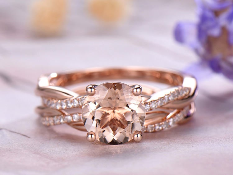 8mm Round Morganite Engagement Ring Set, 14K Rose Gold, Anniversary Ring, Promise Ring, Art Deco, Prong, Infinity Band, Petite Pave, Gift For Her