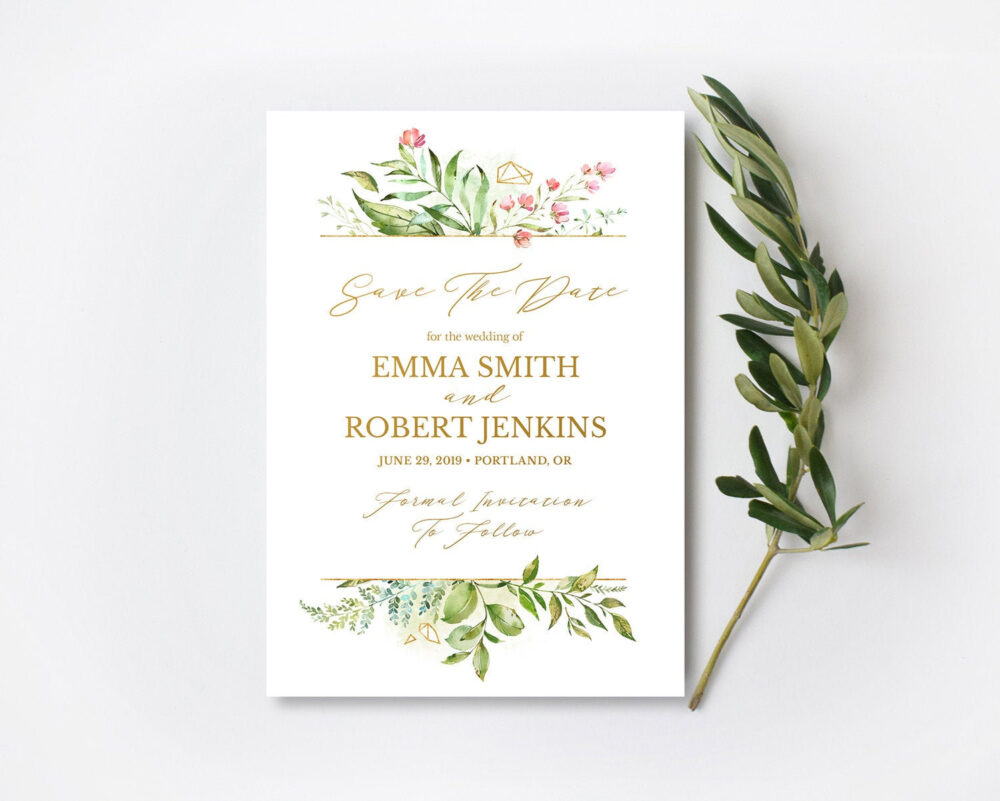 Floral Greenery Save The Date Card, Blush Flowers With Gold Geometric, Wedding Invitation, Engagement, Printable, Digital 5x7