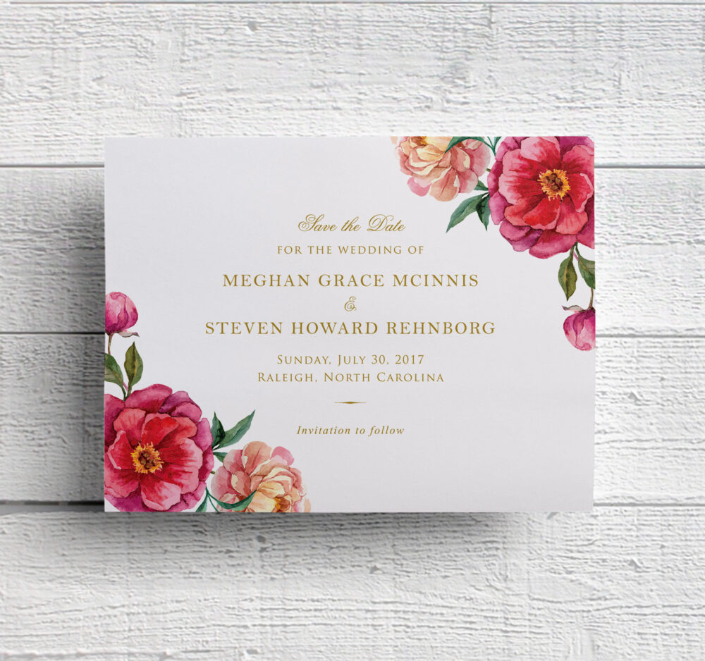Floral Wedding Save The Date Card For Garden Or Outdoor Wedding, Featuring Watercolor Flowers & Offered Printable Printed