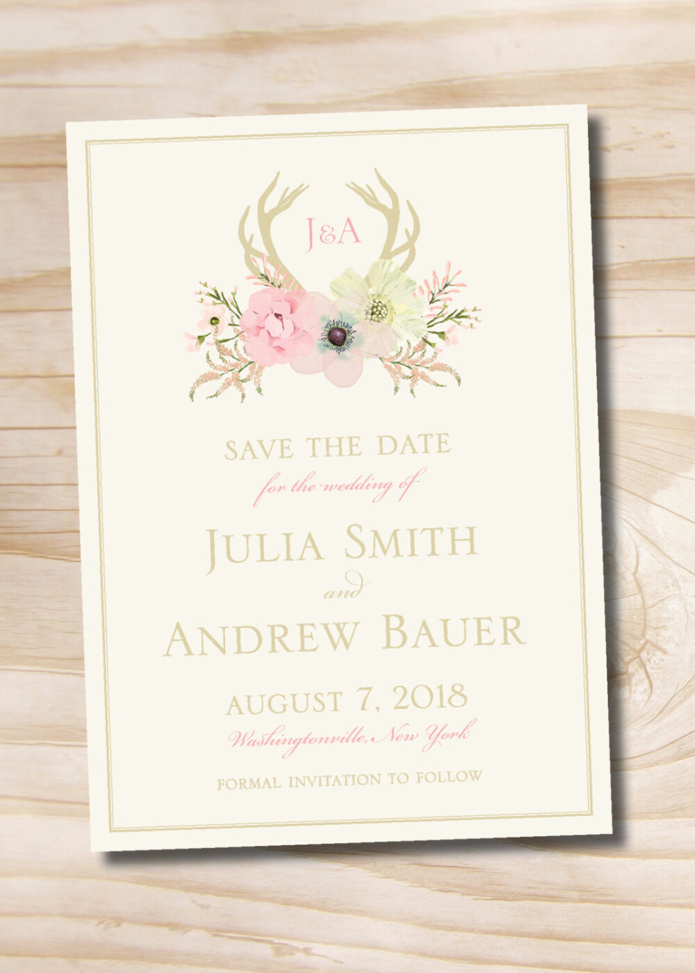 Rustic Watercolor Floral Antlers Save The Date - Printable Save Date Printable Digital File Or Printed Invitations