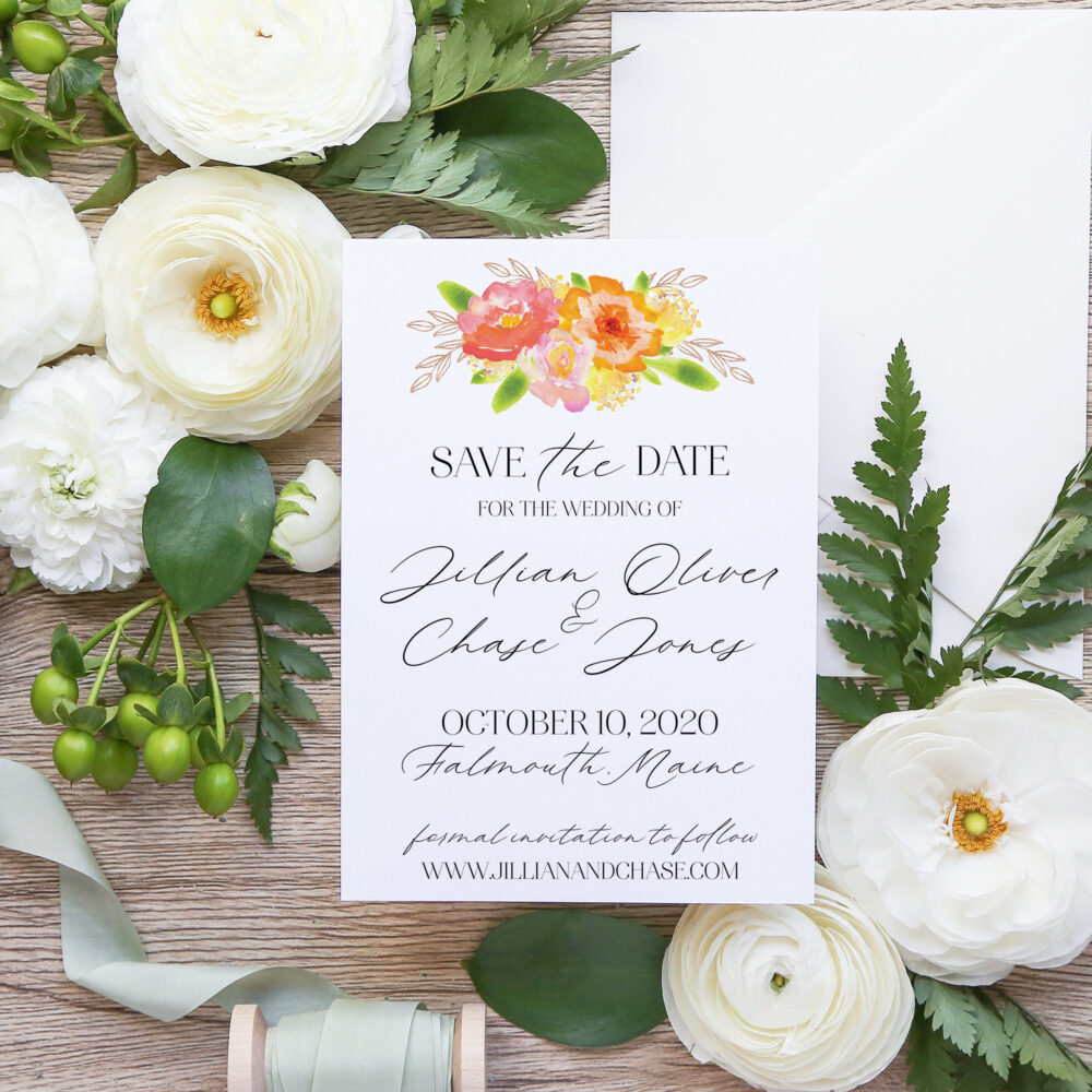 Watercolor & Rose Gold Floral Wedding Save The Date | Autumn Flowers Script Font Outdoor Fall A7 5x7