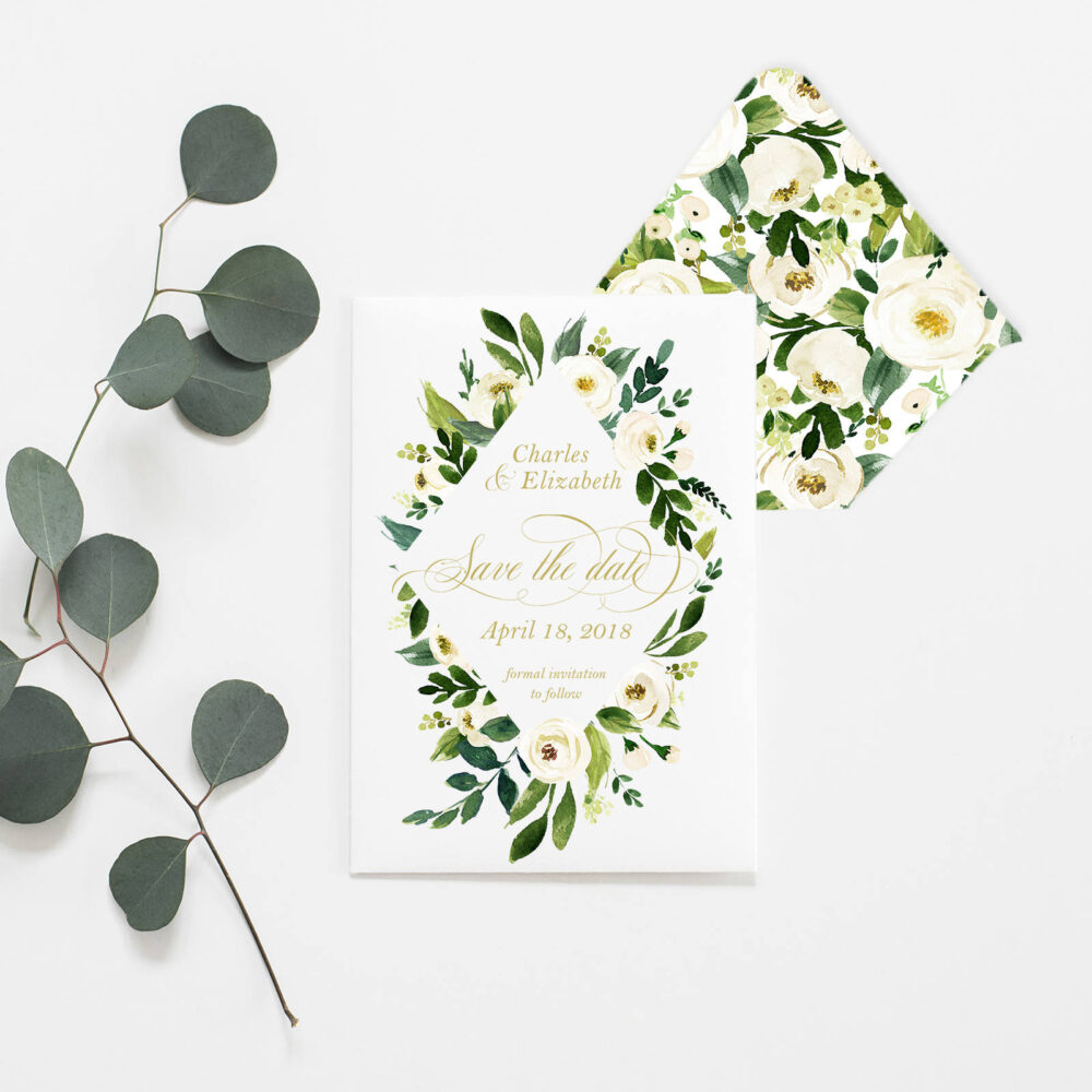 Green & White Floral Watercolor Save The Date - Flowers Gold Calligraphy